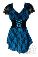 Plus Size Turquoise and Black Lace Sweetheart Corset Top
