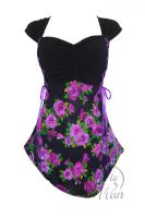 Plus Size Cinch Corset Top in Purple Rose
