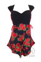 Plus Size Cinch Corset Top in Red Rose