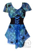 Plus Size Blue Lagoon Printed Lace Sweetheart Corset Top