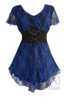Plus Size Blue Violet Printed Lace Sweetheart Corset Top