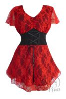 Plus Size Scarlet Printed Lace Sweetheart Corset Top
