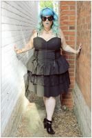 Spin Doctor Plus Size Black Gothic Azrael Corset Dress