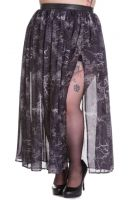 Spin Doctor Plus Size Gothic Spiderweb Skull Raven Altaira Maxi Skirt