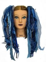 Storm Grey & Blue Gothic Ribbon Hair Falls by Dreadful Falls