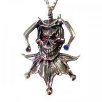 Skull Jester with Multi Colored Crystals Necklace
