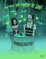 We Were Put Together For Love Formaldahyde Toxic Toons Spooky Greeting Card