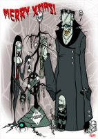 Merry X Mas Adam's Family Toxic Toons Spooky Greeting Card