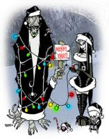 Merry Xmas Skulls and Spiders Toxic Toons Spooky Greeting Card