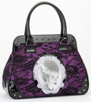 Universal Monsters Bride of Frankenstein Black and Purple Lace Handbag
