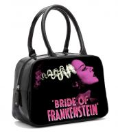 Black and Pink Universal Monsters Bride of Frankenstein Bowler Purse Handbag