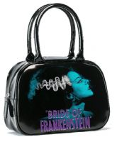 Black and Blue Universal Monsters Bride of Frankenstein Bowler Purse Handbag