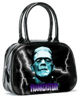 Black and Blue Universal Monsters Frankenstein Bowler Purse Handbag