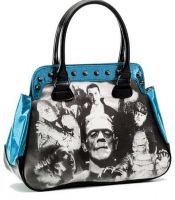 Universal Monsters Blue Glitter Black & White Monster Collage Handbag