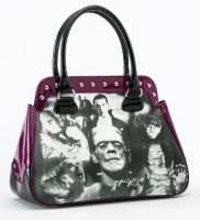 Universal Monsters Purple Black and White Monster Collage Handbag