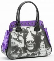 Universal Monsters Purple Glitter Black & White Monster Collage Handbag
