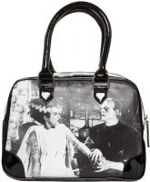 Black and White Universal Monsters Frankenstein and Bride Purse