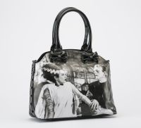 Black and White Universal Monsters Frankenstein and Bride We Belong Dead Tote Handbag Purse