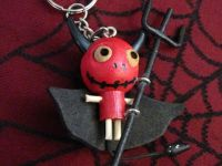 Devil w Black Cape and Pitchfork Woody Keychain