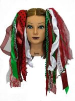 X Mas Christmas Gothic Ribbon Hair Falls by Dreadful Falls