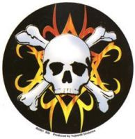 Tribal Flame Crossbones Sticker